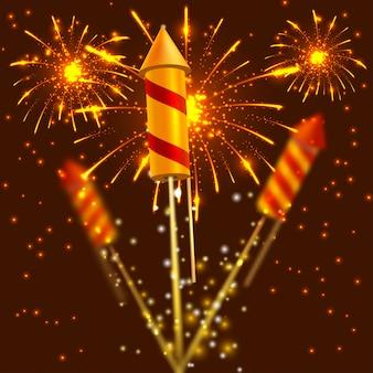 Heldere festivalcrackers op vuurwerkachtergrond. vector illustratie
