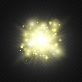 Heldere flits geel sterlicht flares schittert explosie
