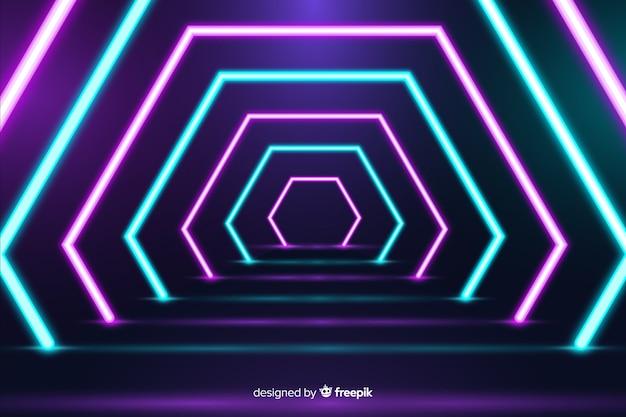 Heldere geometrische neonlichtenachtergrond