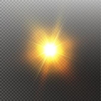 Heldere glanzende geïsoleerde zon. glow lichteffect. vector illustratie