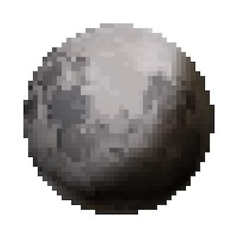 Heldere glanzende maan schattig satelliet in pixel art stijl geïsoleerd op wit