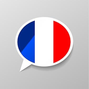 Heldere glanzende sticker in de vorm van de toespraakbel met de vlag van frankrijk, franstalig concept