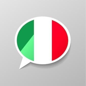 Heldere glanzende sticker in de vorm van de toespraakbel met de vlag van italië, italiaans taalconcept