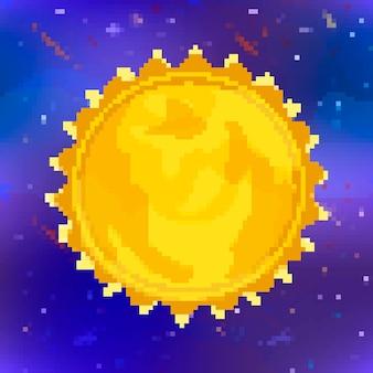 Heldere glanzende zon gele ster in pixel art stijl op ruimte achtergrond