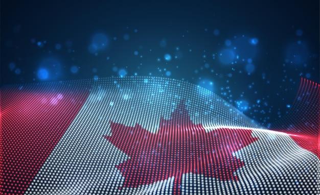 Heldere gloeiende landvlag van abstracte stippen. canada