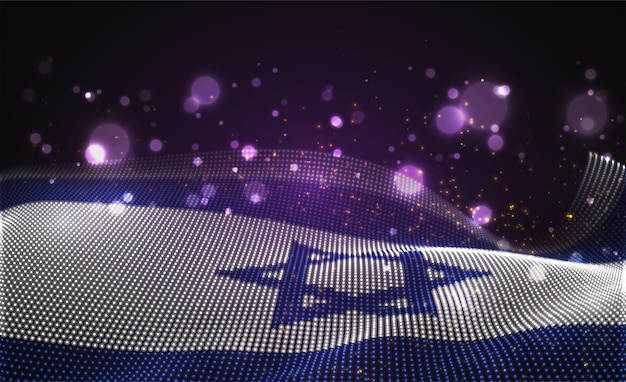 Heldere gloeiende landvlag van abstracte stippen. israël