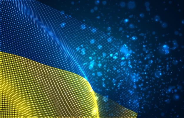 Heldere gloeiende landvlag van abstracte stippen. oekraïne