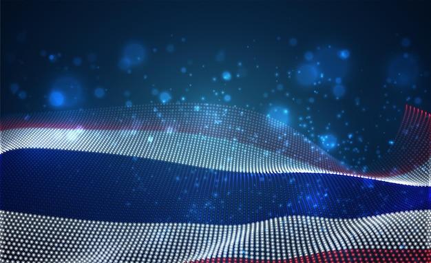 Heldere gloeiende landvlag van abstracte stippen. thailand