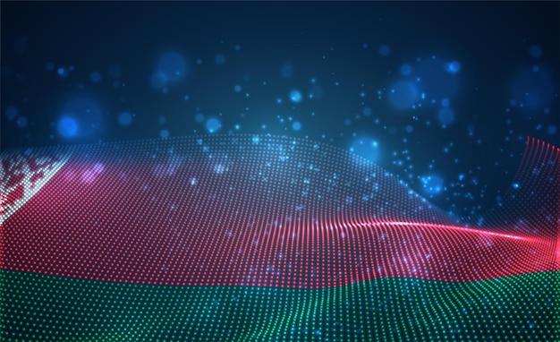 Heldere gloeiende landvlag van abstracte stippen. wit-rusland