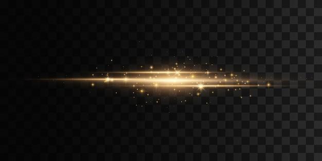 Heldere gouden blikken. gele horizontale lensfakkels. laserstralen, horizontale lichtstralen