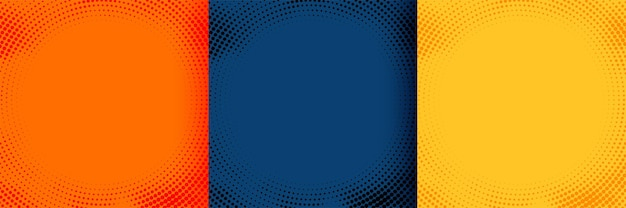 Heldere halftone achtergronden in oranje blauwe en gele kleuren