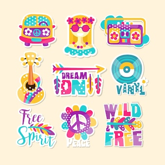Heldere hippie-thema illustratie vector