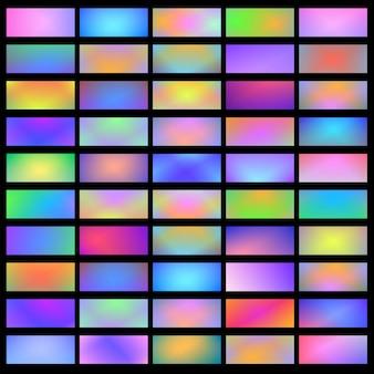 Heldere holografische banners horizontale vloeiende verloop achtergronden, set. vector collectie folie textuur gradatie voor grens, frame, lint, label