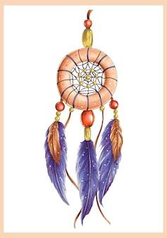 Heldere illustratie met dromenvanger en paarse veren
