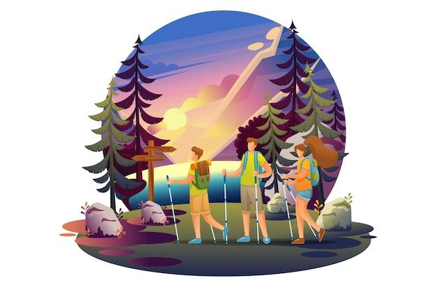 Heldere illustratie van een camping, jonge mensen die in het bos wandelen