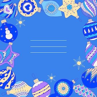 Heldere kerstmisachtergrond met kerstballen. hand getekend. vector