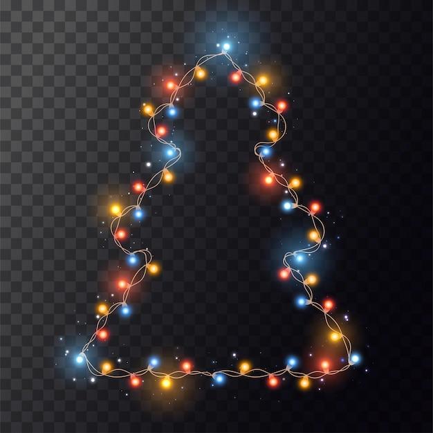 Heldere kleurenslinger op kerstboom. string met realistische lichten op transparante achtergrond