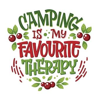 Heldere kleurrijke camping belettering zin - kamperen is mijn favoriete therapie.