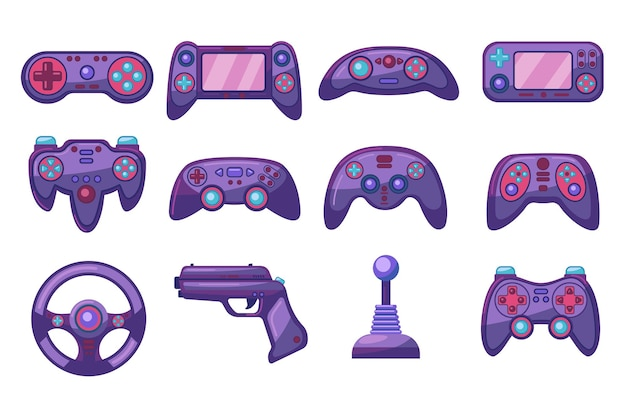 Heldere kleurrijke computer joysticks platte afbeeldingen set