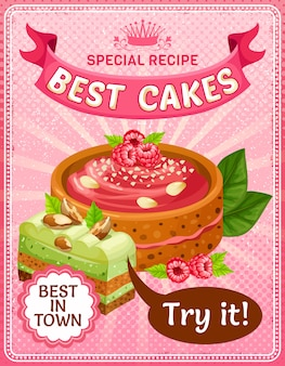 Heldere kleurrijke smakelijke taarten poster