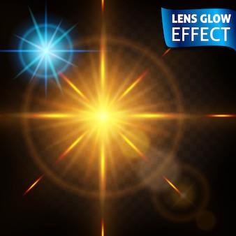 Heldere lichteffecten van hoge kwaliteit. het effect van de lens, de zon gloeien,. ontwerp voor het nieuwe jaar en kerstmis