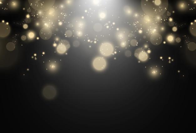 Heldere mooie glitters of vonken op een transparante achtergrond. vectorillustratie van een mousserende