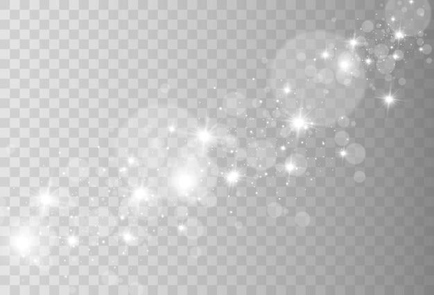 Heldere mooie glitters of vonken op een transparante achtergrond. vectorillustratie van een mousserende Premium Vector