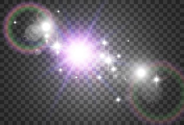 Heldere mooie ster. een lichteffect op een transparante achtergrond.