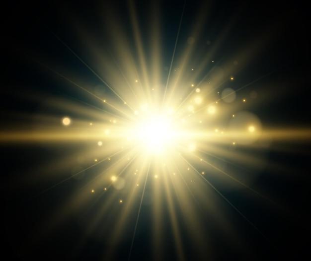 Heldere mooie ster. illustratie van een lichteffect