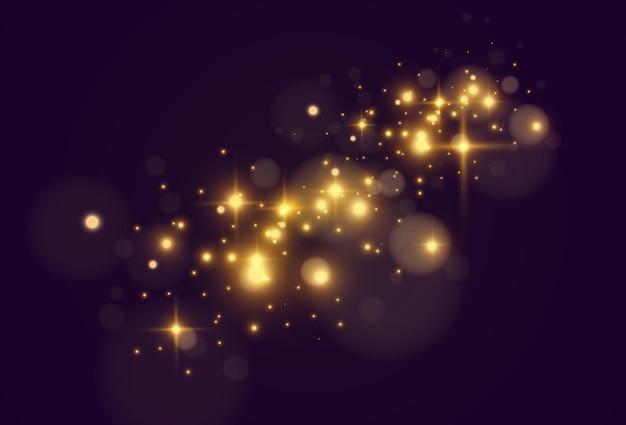 Heldere mooie ster. sprankelende magische stofdeeltjes