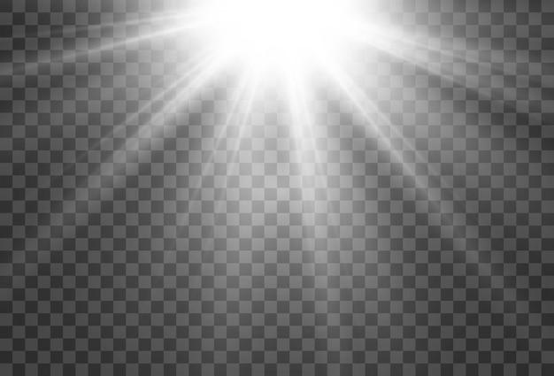 Heldere mooie ster van een lichteffect op een transparante achtergrond