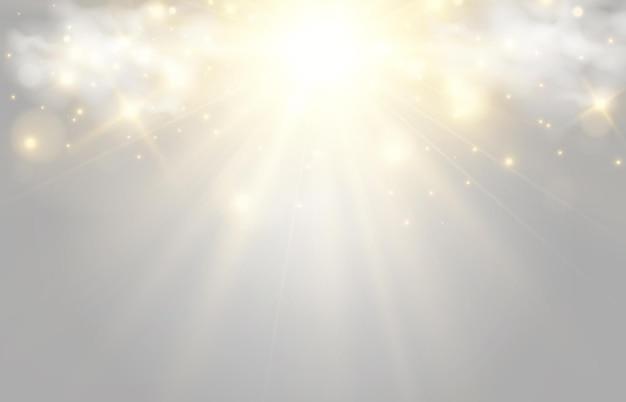 Heldere mooie ster vectorillustratie van een lichteffect op een transparante achtergrond