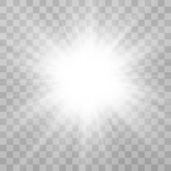 Heldere mooie ster. vectorillustratie van een lichteffect op een transparante achtergrond.