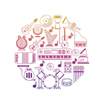 Heldere muziekaffiche met muzikale instrumentenpictogrammen