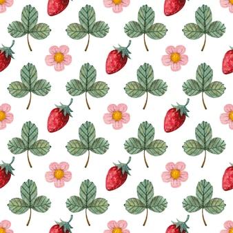 Heldere naadloze aquarel patroon met aardbeien bladeren en bloemen