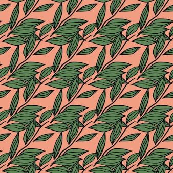 Heldere naadloze naïef patroon met omtrek laat groene elementen. roze achtergrond. gestileerd kunstwerk.