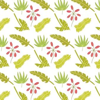 Heldere naadloze patroon tropische bladeren
