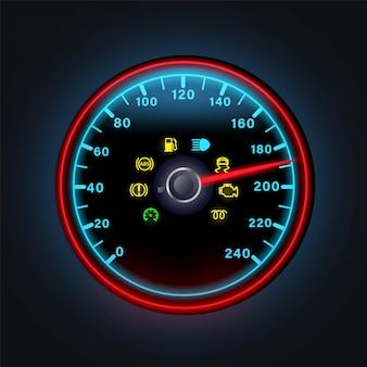 Heldere neon digitale snelheidsmeter met de lichte illustratie van dashboardindicatoren