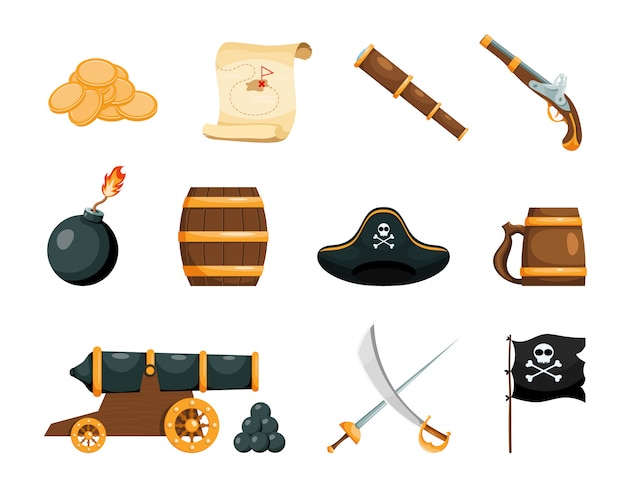 Heldere objecten van het piratenspel