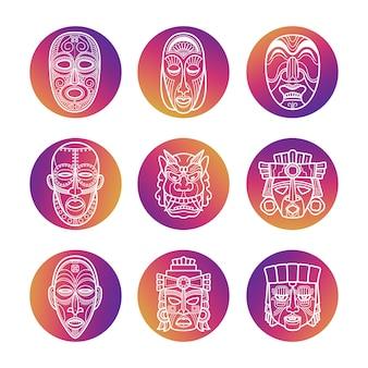 Heldere pictogrammen met witte afrikaanse tribale vodoo-maskers