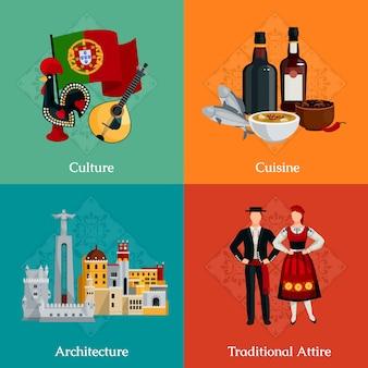 Heldere plat pictogrammen instellen met traditionele portugese kledij keuken