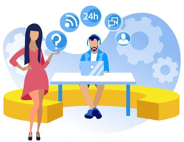 Heldere poster callcenter setup cartoon. bereidheid om te werken volgens ploegenschema. guy zit aan tafel met laptop in koptelefoon, meisje staat naast hem. illustratie.