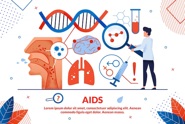 Heldere poster inscriptie aids vector illustratie