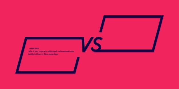 Heldere postersymbolen van confrontatie versus vectorillustratie op rode achtergrond