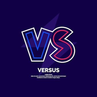 Heldere postersymbolen van confrontatie vs. vectorillustratie op donkere achtergrond met een trendy minimalistische stijl.