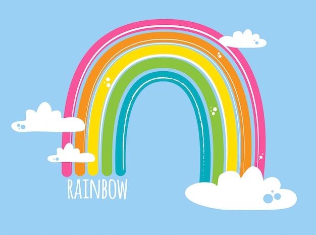 Heldere regenboog met wolken op blauw
