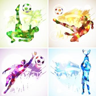 Heldere regenboog silhouet voetbal voetballers, keeper, kampioen met beker, fans op grunge achtergrond. modern veelhoekig patroon. vector illustratie