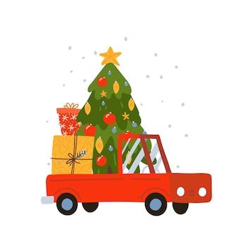 Heldere rode kerstbestelwagen met versierde kerstboom en geschenkdozen nieuwjaarsgeschenken en levering...