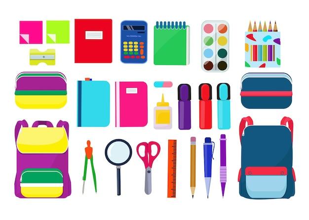 Heldere school etui, rugzak, briefpapier, pen, potloden, schaar, liniaal, gum, boek. vector