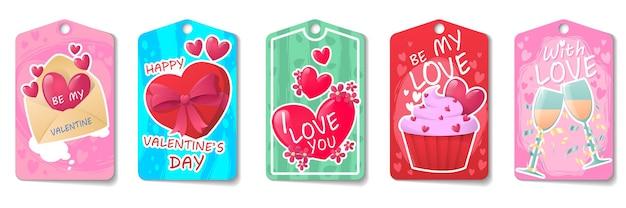 Heldere set kaarten voor valentijnsdag